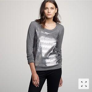 J. Crew Grey and Silver Sequin sweatshirt XS